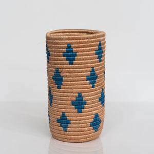 Woven Grass Utensil Holder / Vase, Blue Triangle