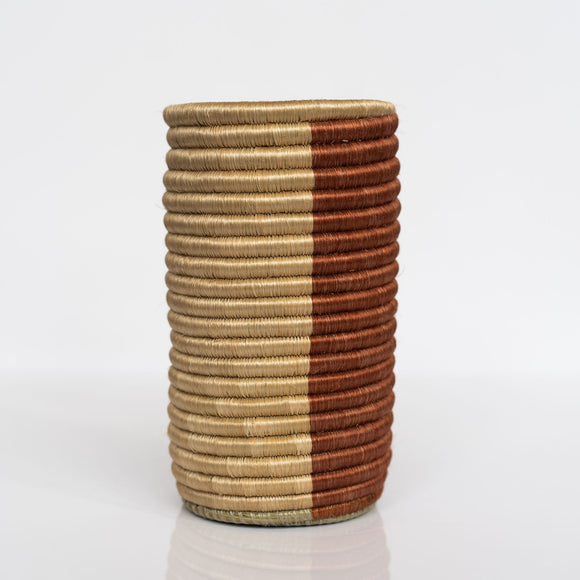 Woven Grass Utensil Holder / Vase, Rust + Tan