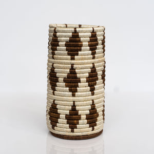 Woven Grass Utensil Holder / Vase, Brown Diamond