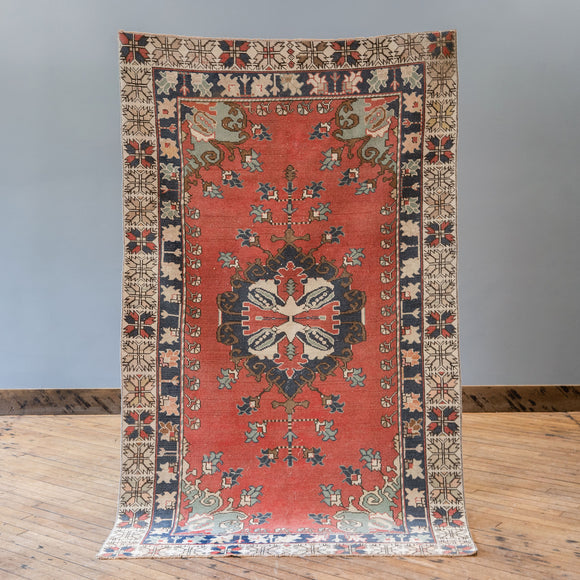 Nehir - Vintage Turkish Rug, 4.2' x 7.1'