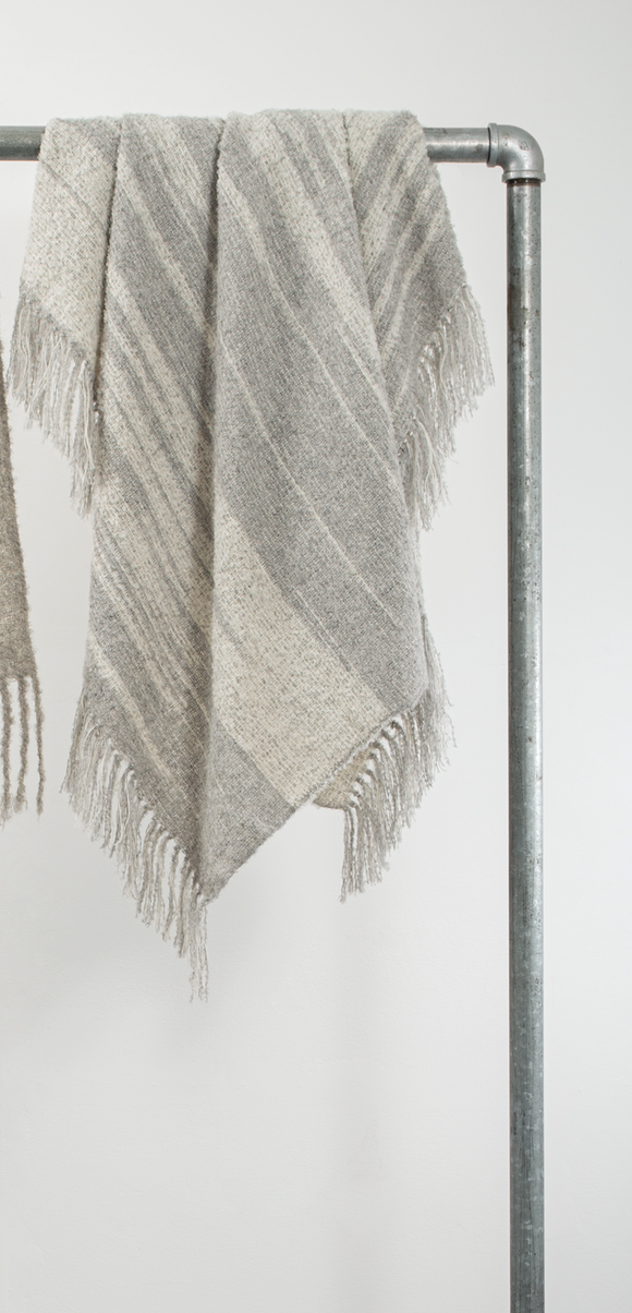 Grey + Cream Multi Stripe Alpaca Throw, 50