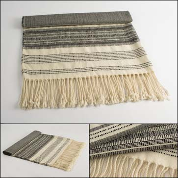 Grey + Cream Stripes Alpaca Throw, 59