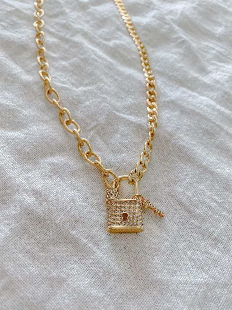 Golden Lock Necklace - MaeCargo