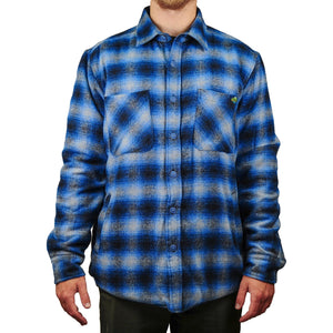 Central Coast Surfboards Leif Flannel Quilted Jacket Blue