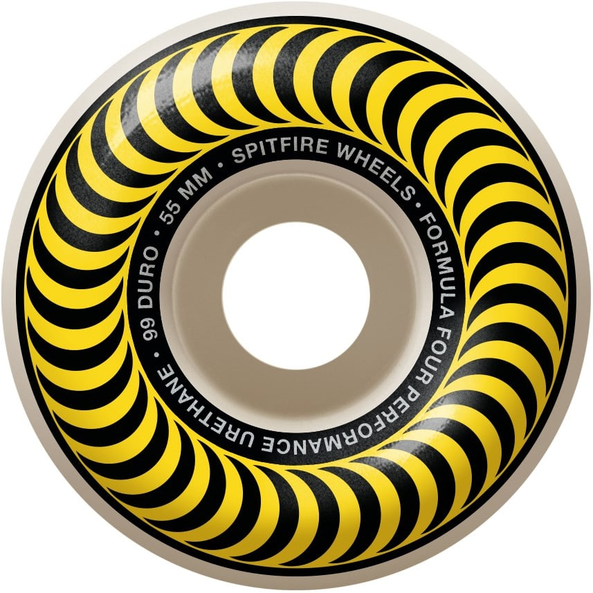 Spitfire Formula Four Classic Yellow Swirl 99A 55mm Skate Wheel 4 Pack