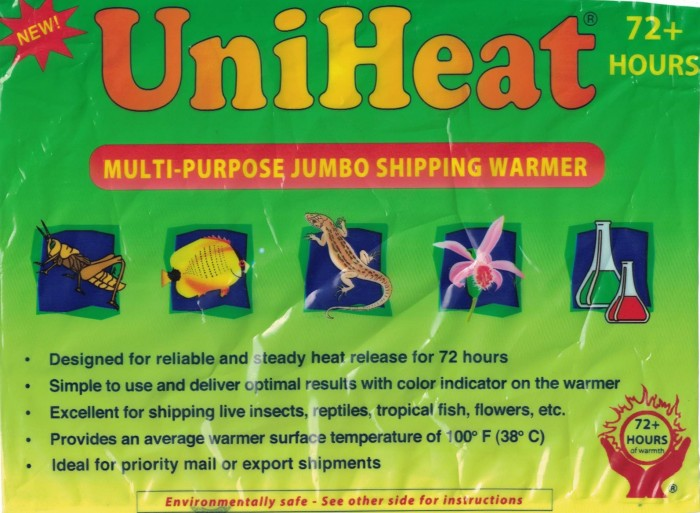 72 hour heat pack. picture of the front label.