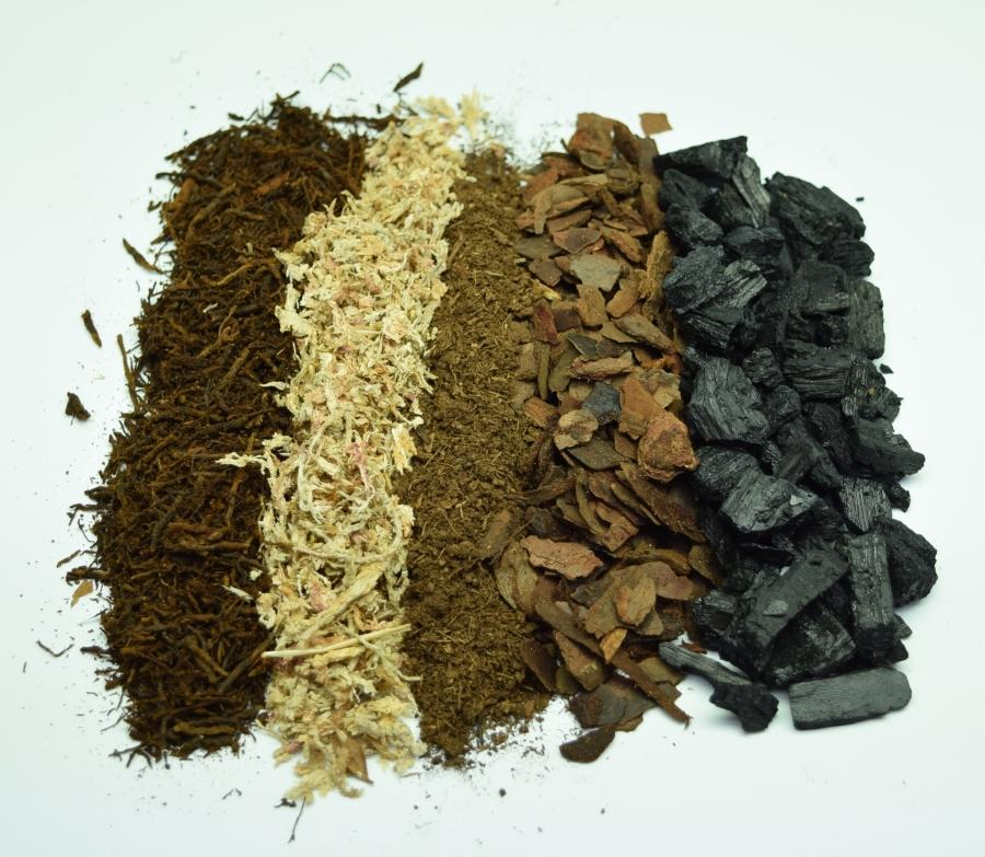 Overhead view of the different ingredients in Atlanta Botanical Gardens terrarium soil.
