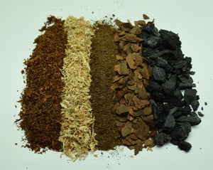 Overhead view of all of the different ingredients in our Tropical Soil Mix.