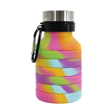 Load image into Gallery viewer, Tie Dye Silicone Collapsible Water Bottle