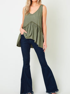 Sleeveless Linen Babydoll Top - Olive
