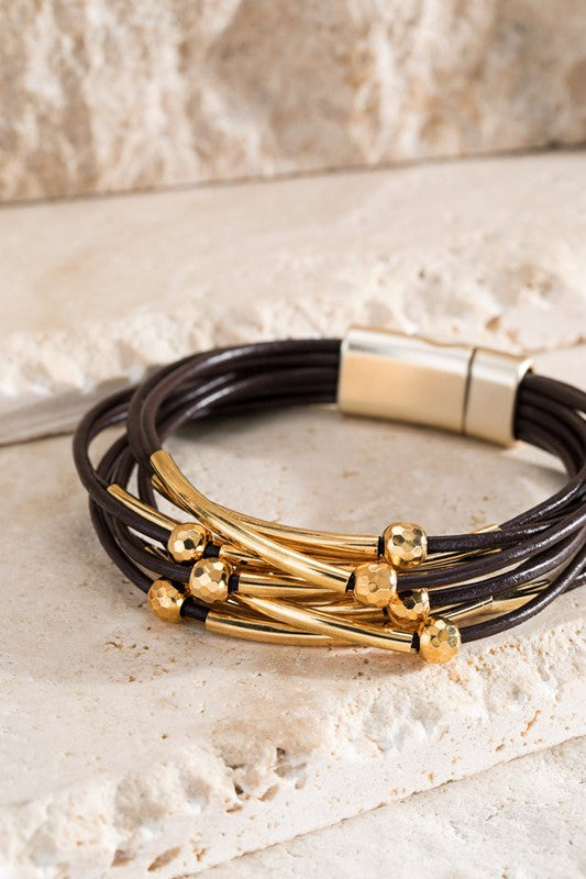 Faux Leather and Metal Bracelet