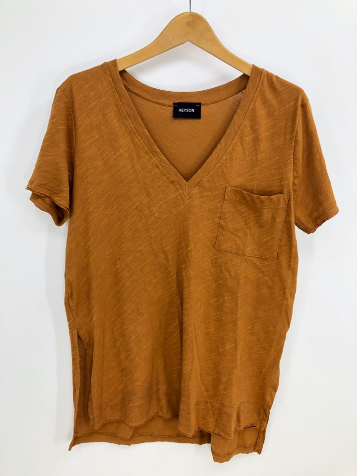 V Neck Pocket Tee With Side Slit