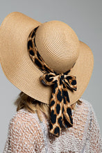 Load image into Gallery viewer, Straw Sun Hat w/ Leopard Bow