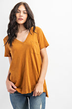 Load image into Gallery viewer, V Neck Pocket Tee With Side Slit