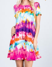 Load image into Gallery viewer, Tie Dye Dress- Fuchsia/Purple