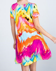 Tie Dye Dress- Fuchsia/Orange