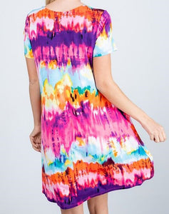 Tie Dye Dress- Fuchsia/Purple