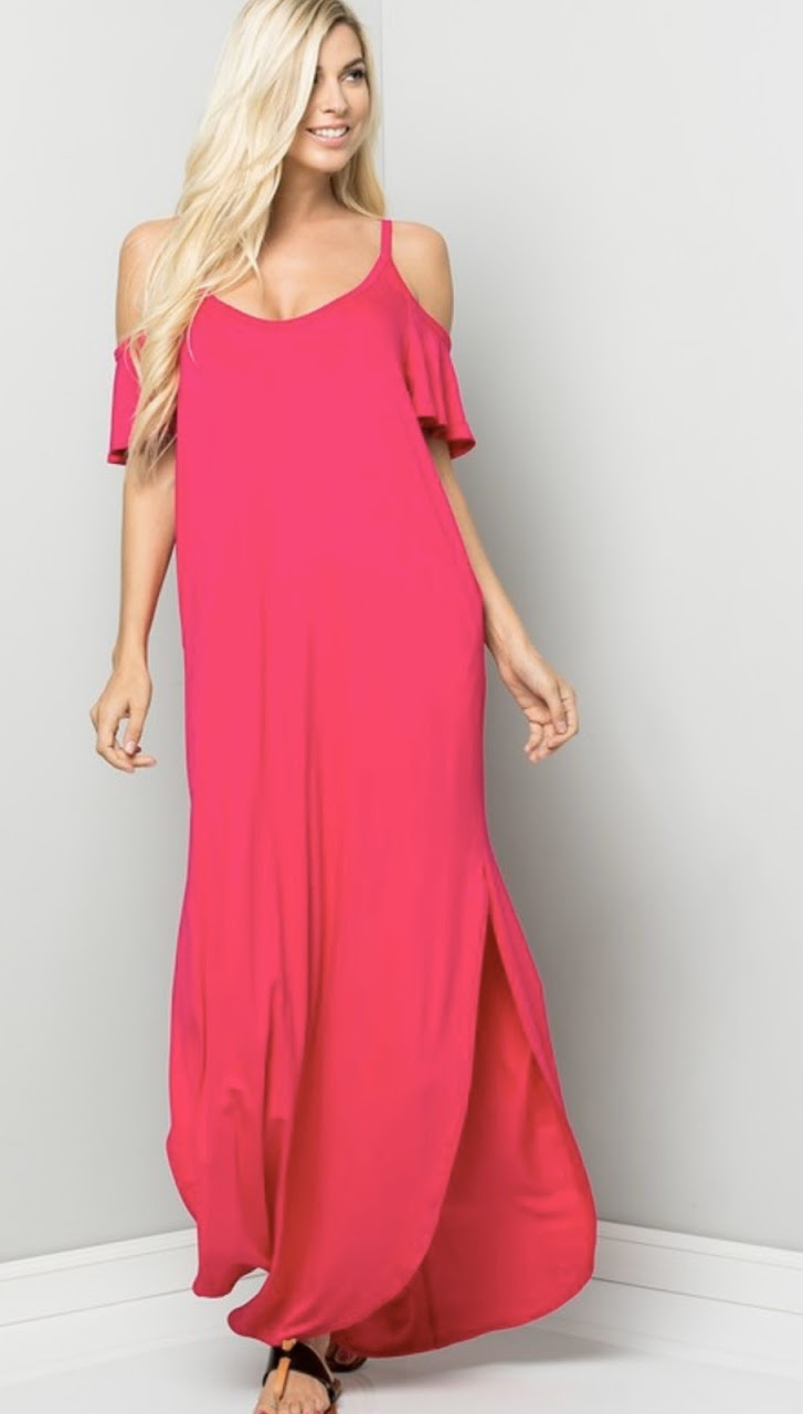 Pink Cold Shoulder Maxi