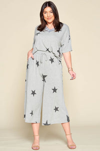 Star Print Wide Leg Lounge Pants-Plus