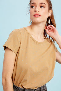 POLKA DOT COTTON SPAN FLARE T-SHIRT