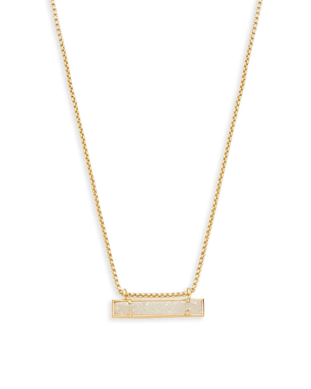 Leanor Gold Bar Necklace-Iridescent Drusy