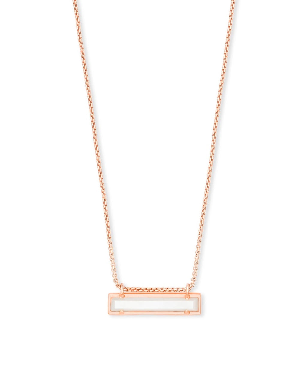 Leanor Rose Gold Bar Necklace-Ivory Mother of Pearl