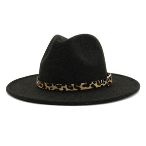 Fedora Hat with Leopard Belt