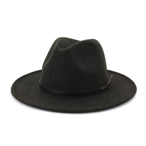 Felt Fedora Hat w/ Black Leather Belt