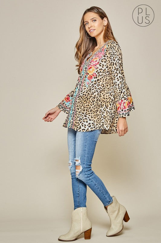 Leopard Embroidered Bell Sleeve Tunic-Plus