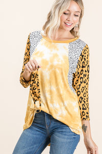 Leopard Tie Dye Tunic with Face Mask
