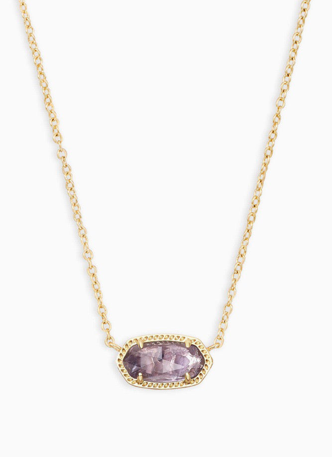 Elisa Gold Necklace-Amethyst