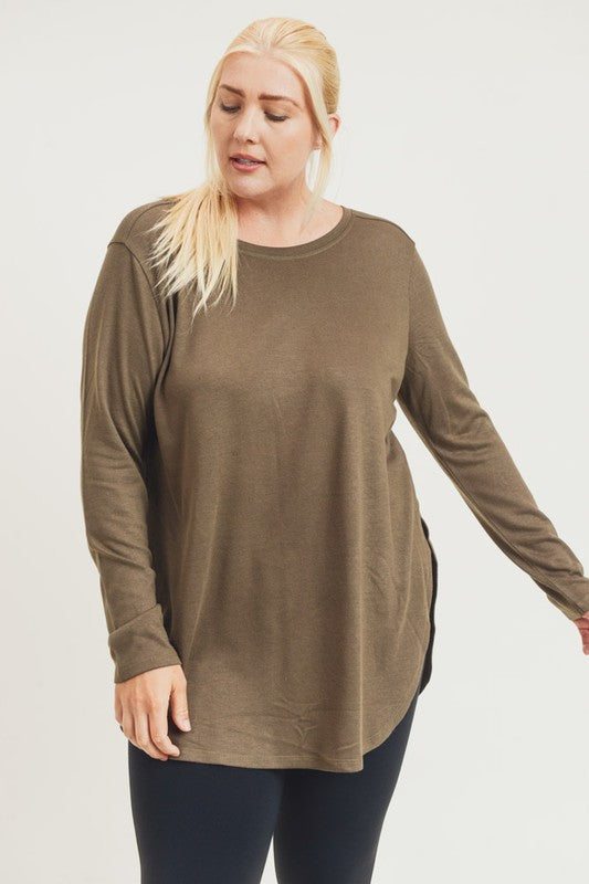 Long Sleeve Side Slit Top-Plus