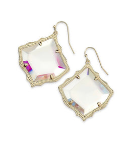 Kirsten Gold Earrings-Dichroic Glass