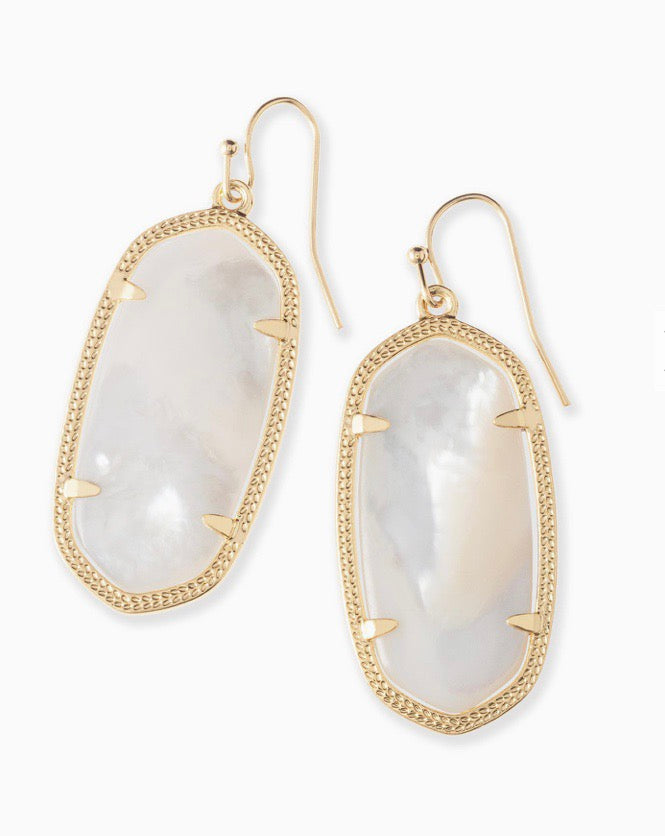 Elle Gold Earrings-Ivory Mother of Pearl
