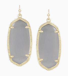 Elle Gold Earrings-Slate Cat's Eye