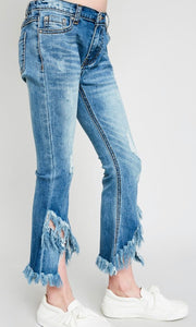 Tween Distressed Cropped Flair Pant