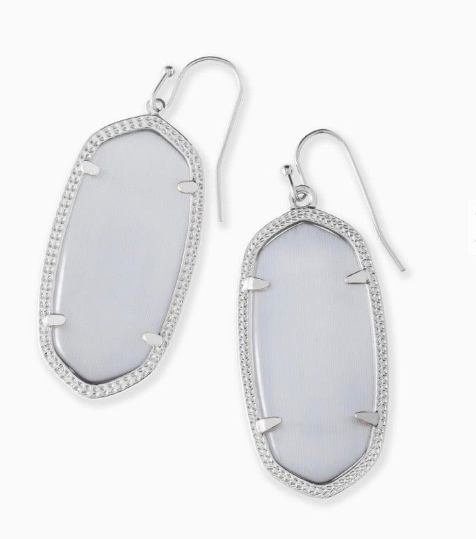 Elle Silver Earrings-Slate Cat's Eye