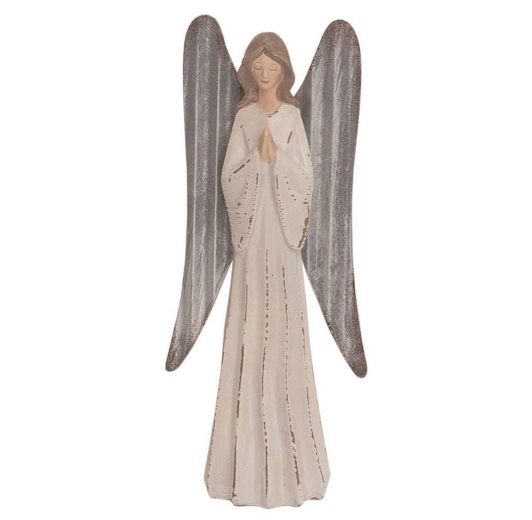 Resin 8 in. White Carved Angel