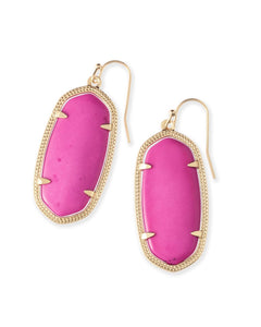 Elle Gold Earrings-Magenta Magnesite