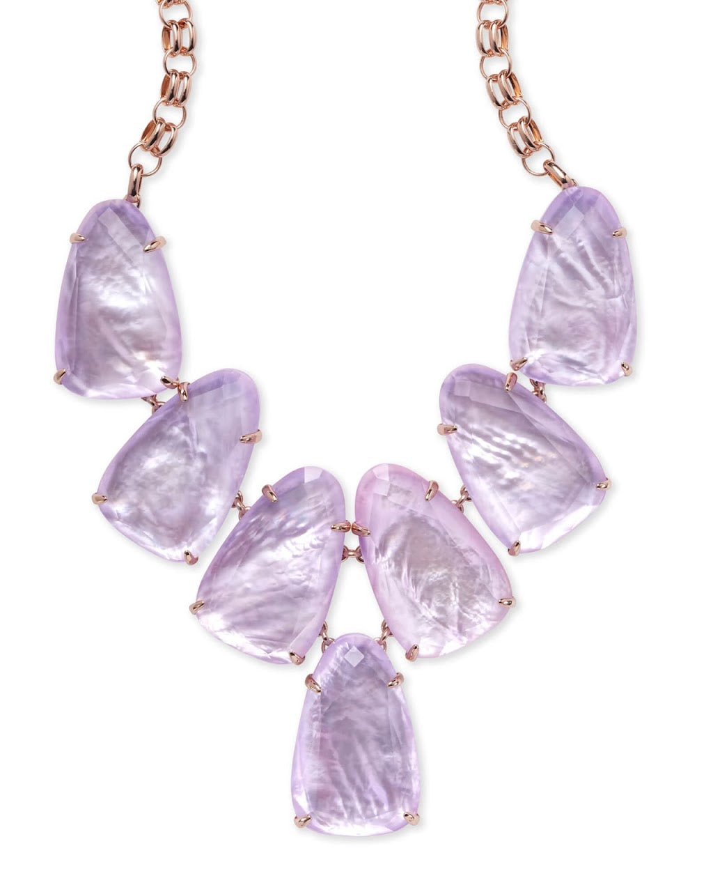 Harlow Rose Gold Statement Necklace-Amethyst