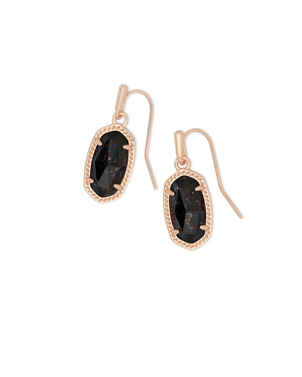 Lee Rose Gold Earrings-Black Granite