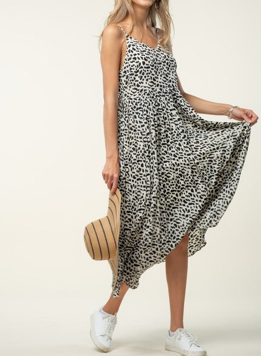 Animal Print Pleated Dress