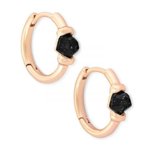 Ellms Rose Gold Huggie Earrings-Black Granite