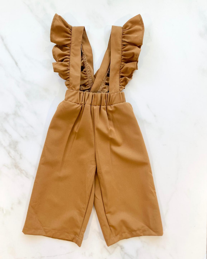 Sharlyn Ruffle Suspender Pants - Toasted Chestnut