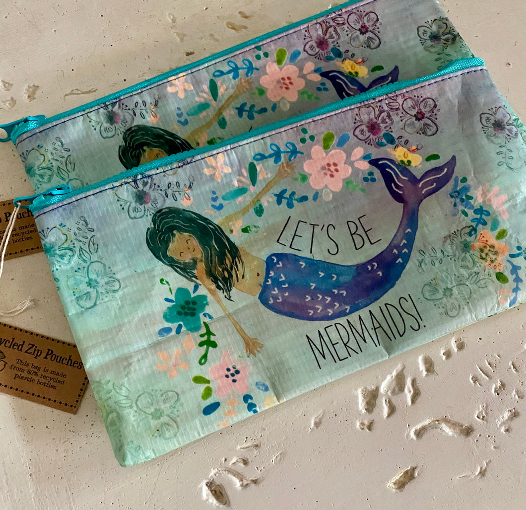 Let's Be Mermaids Recycled Zip Pouch