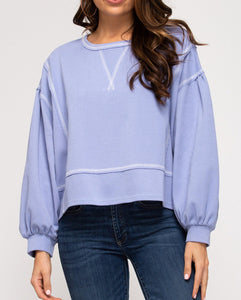 Long Sleeve Knit Top - Periwinkle