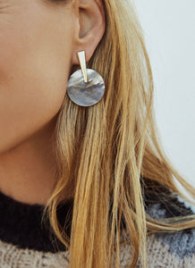Jolie Gold Drop Earrings-Gray Illusion