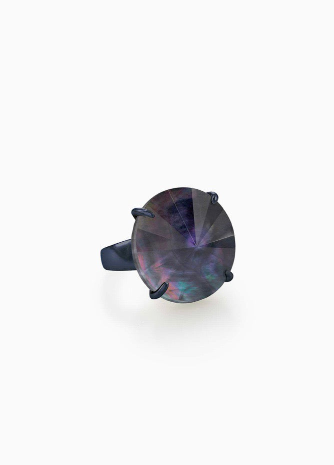 Jolie Navy Gunmetal Cocktail Ring-Indigo Illusion