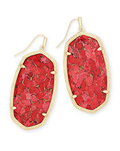 Load image into Gallery viewer, Danielle Gold Earrings-Bronze Veined Red Magnesite