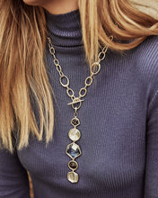 Load image into Gallery viewer, Natalia Gold Y Necklace-Steel Gray Mix
